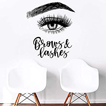 Melissalove Left Eyelashes Decals Quotes Brows & Lashes Wall Stickers Beauty Salon Shop Decor Sign Wall Decal Art Vinyl Bedroom Wallpaper LC465  Black