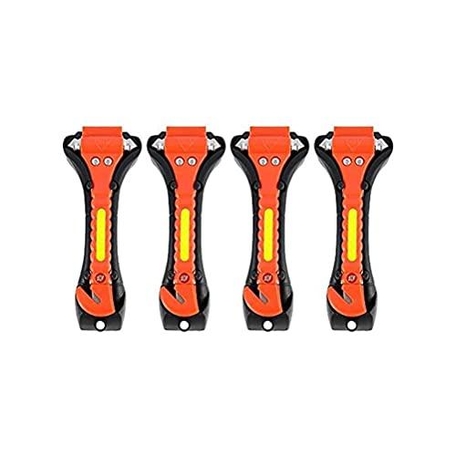 Wuawtyli Martillo de Emergencia para Coche Romper la Cristal Ventana Cortador de Cinturon de Seguridad como Elemento de Seguridad en el Coches, Pack de 4