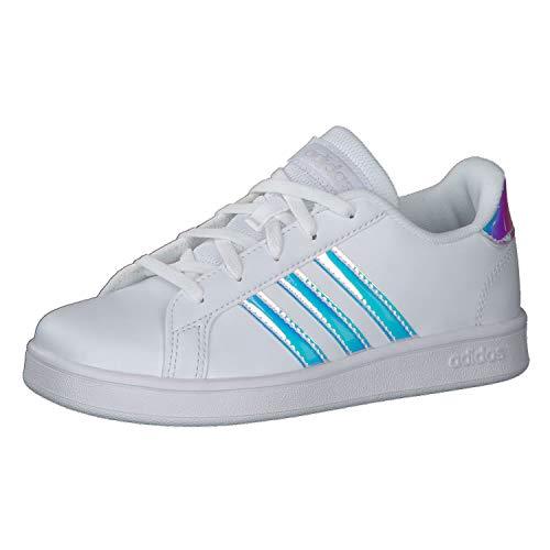 adidas Grand Court K, Scarpe da Tennis, Blanc Blanc Gris Clair, 37 1/3 EU