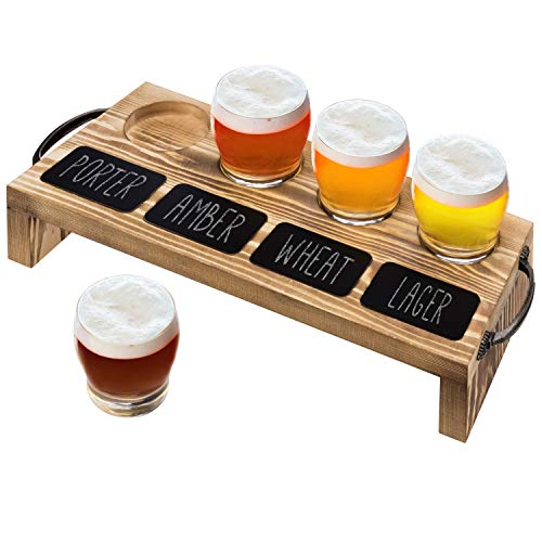 MyGift 4-Glass Beer Tasting Flight Set with Burnt Wood Serving Caddy Tray & Chalkboard Labels