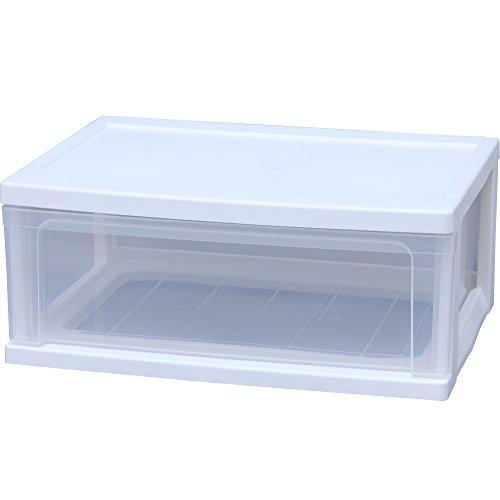 アイリスオーヤマ チェスト ワイド 1段 幅54×奥40×高さ22.5cm ホワイト / クリア 白 プラスチック W-541