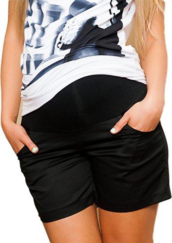 Mija – Maternidad Pantalones cortos ligeros / perfectos para el verano 9038 (EU 38, Negro)