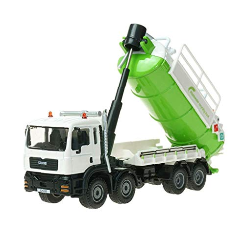 XHAEJ Modelo de automóvil Modelo de aleación Modelo de Auto Simulación Niño Chico Juguete Ingeniería Vehículo Residuos Agua Reciclaje Regalo de Metal para niños 1:50 (Color : Green+White)