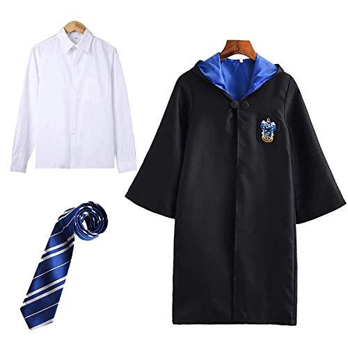 Harry Potter Kostüm Kinder Erwachsene Umhang Unisex Gryffindor Hufflepuff Ravenclaw Slytherin Outfit Set Fanartikel Cape,Krawatte,Hemd Halloween Fasching Verkleidung Schwarz 115-185,M.