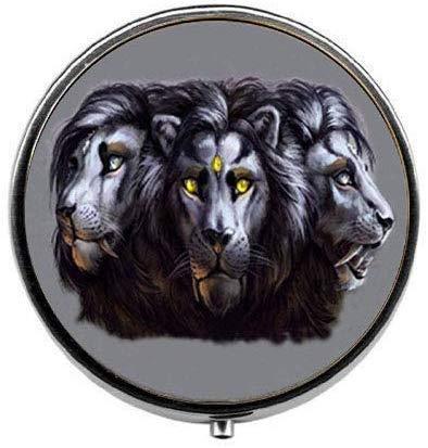 Pastillero con tres cabezas de león, caja de caramelos, joyería de animales...