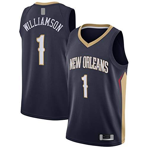 YUEJI Draft First Round Pick Swingman JerseyZion - Camiseta de baloncesto de manga corta con diseño de Orleans sin mangas de Pelícanos #1 Williamson Traning Jersey azul marino - Edición Icono-XXL