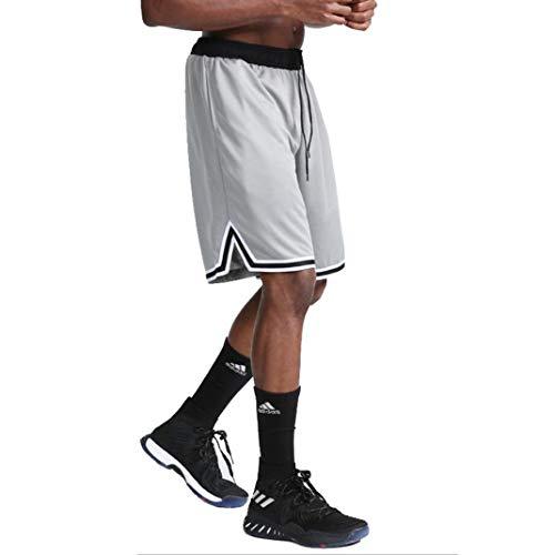 SUNSIOM Men's Basketball Shorts Gym & Running Elastic Waistband Short Pants(White,XL)