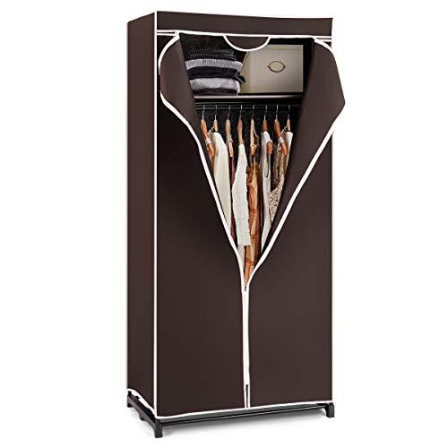 GOPLUS Kleiderschrank Stoff, Stoffkleiderschrank Stoff Regal Garderobenschrank Faltschrank mit Reißverschluß aus Stoff, für Reisen oder als zusätzlicher Schrank, 172 x 74 x 50 cm (Braun)