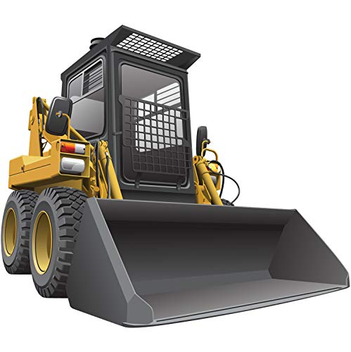 StikArt Yellow Skid-Steer Loader Construction Truck Wall Decal, 12-inches W x 10.5-inches H