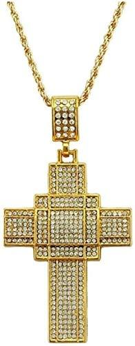 YOUZYHG co.,ltd Collar con Colgante de Cruz Grande para Hombre Collar de Color Dorado Collar de joyería Cristiana (Color de Metal: Plata) - Oro