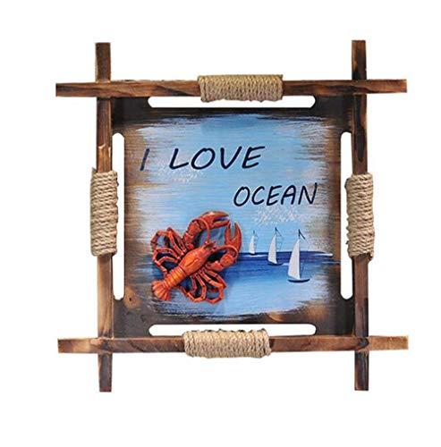 Mediterrane oud massief houten decoratieve lijst Crab Sofa Porch achtergrond wanddecoratie schilderijen Start Soft Wood Crafts Schilderen
