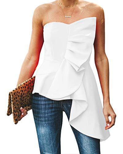 Valphsio Womens Ruffle Party Blouse Strapless Asymmetrical Peplum Statement Top Shirts (Medium, White)