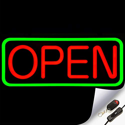 Large Flashing LED Neon Open Sign Light for Businesses with Remote – Extra Bright Lightweight & Energy Efficient - for Restaurants Offices Retail Shops Window Storefronts – Green - Red