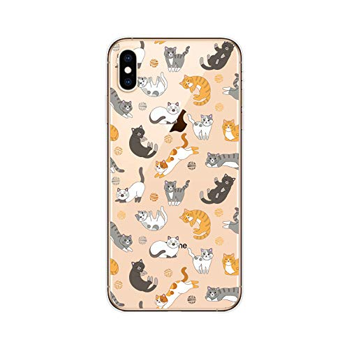 iPhone Xs Max Case,Blingy's New Fun Cute Animal Style Transparent Clear Protective Soft TPU Case Compatible for iPhone Xs Max (Cats)