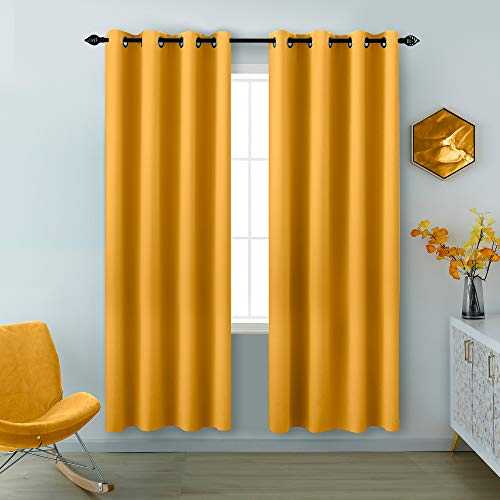Yellow Curtains 84 Inch Length 2 Panels Grommet Light Blocking Insulated Thermal Room Darkening Blackout Curtains for Living Room Bedroom 52 x 84 Inches Long
