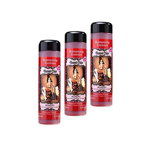 Lot 3 Shampoings Henné Acajou 100% Naturel Entretien Coloration Pour Cheveux Soin Sans Sulfate Sans Parabène De 3 x 250ml