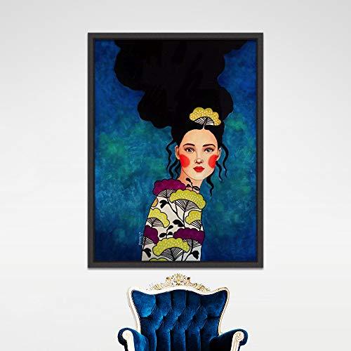 Geiqianjiumai Caracteres nórdicos Modernos Lienzo impresión de Arte Abstracto Chica Imagen Dormitorio Sala Pared Arte sin Marco Pintura 30x40 cm