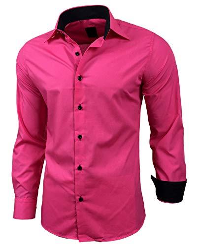 Baxboy Herren-Hemd Slim-Fit Bügelleicht Für Anzug, Business, Hochzeit, Freizeit - Langarm Hemden für Männer Langarmhemd R-44, Farbe:Pink, Größe:L
