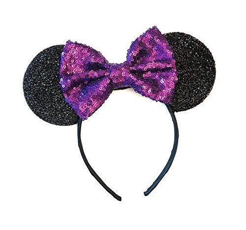 Purple Mickey Ears, Sparkly Mickey Ears, Purple Minnie Ears, Rainbow Ears, Minnie Ears, Rose Gold - http://coolthings.us