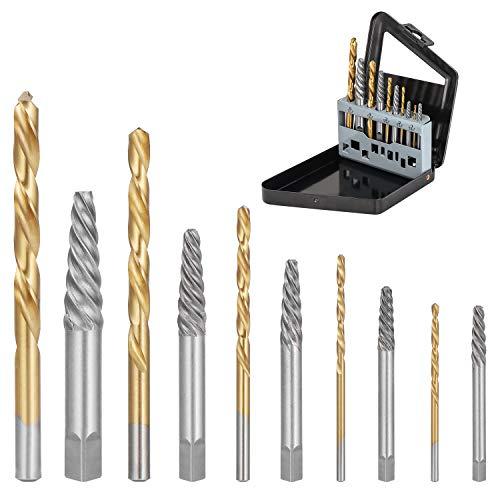 WiMas - Set di 10 estrattori di viti e punte per trapano a sinistra, set di punte per trapano in cobalto e bulloni rotti, kit di estrattori per viti danneggiate
