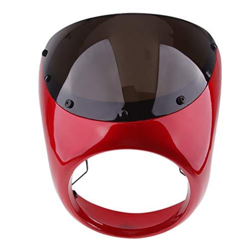 Frente motocicleta Faro carenado parabrisas universal de plástico for los cafés piloto de motos de pantalla retro faro del viento Motorcycle Windscreen Spoiler (Color : Rojo)