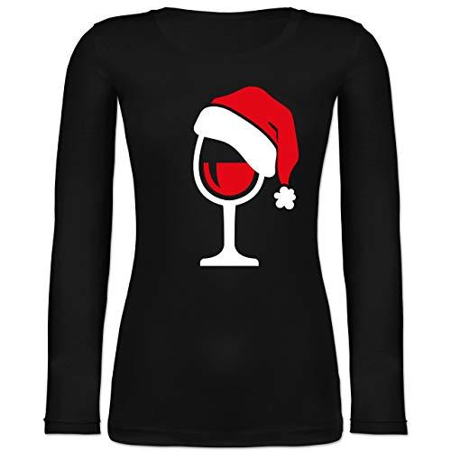 Weihnachten & Silvester - Weinglas mit Weihnachtsmütze - L - Schwarz - Langarm - BCTW071 - Langarmshirt Damen