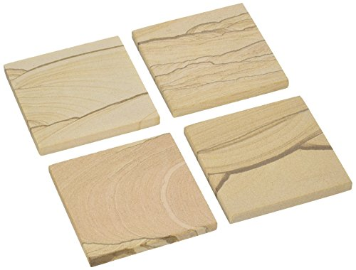 Thirstystone Brand, Multicolor All Natural Durable Stone with Varying Patterns, Every Coaster is an Original, 4 square, Desert Sand Sandstone