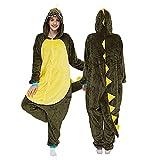 KUNHAN Pijamas Enteros Pijama de una Pieza, Animal, para Hombres y Adultos, Ropa de Dormir Divertida, Cosplay, Disfraz de casa de dragón Verde Kiguru-Verde_Metro