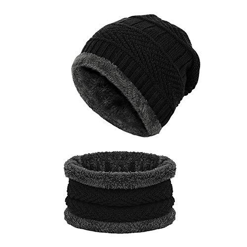 Wintermütze Beanie , otumixx Strickmütze und Schal Herren Damen Weichem Fleecefutter Warme Mütze mit angesagtes Strickmuster