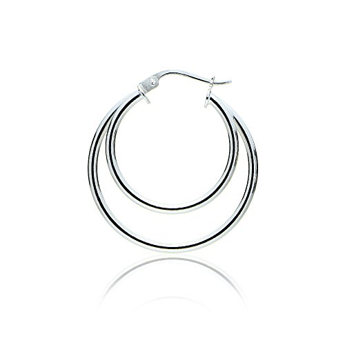 Sterling Silver Double Circle Round-Tube Polished Hoop Earrings, 30mm