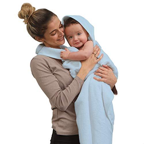 SIMPLY GOOD. Delantal de Toalla para bebés y bebés recién Nacidos Toalla de baño con Capucha y Manos Libres para bebé y toallita para niño y niña (Azul)
