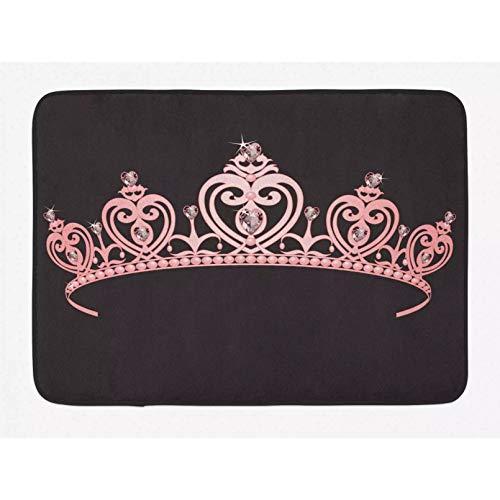 Alfombra de baño de princesa Corona rosa pálida con regla de diamante de la nación Imagen de disfraz de familia real Alfombra de decoración de baño de felpa con Navidad Decoración hogareña-50x80cm
