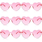 6 Pairs Valentines Heart Sunglasses Transparent Love Glasses Tinted Eyewear Rimless Glasses (Light Pink)