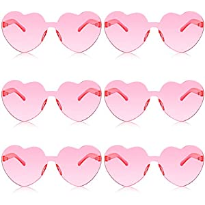 6 Pairs Valentines Heart Sunglasses Transparent Love Glasses Tinted Eyewear Rimless Glasses