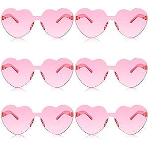 6 Pairs Valentines Heart Sunglasses Transparent Love Glasses Tinted Eyewear Rimless Glasses
