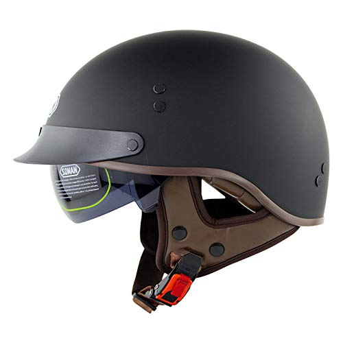 Casco Moto Jet Abierto,Casco ECE Homologado Retro Vintage Style Cascos Half-Helmet con Visera Casco Moto Abierto para Adultos Hombres Mujeres A,M56~57CM