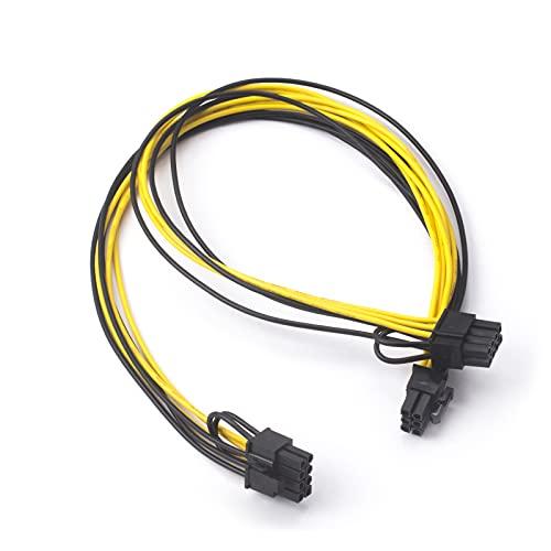 HotTopStar 40 cm Grafikkarte 6 Pin auf Doppel8 Pin 6 + 2 Pin PCIE Adapter Kabel, ATX 6 Pin Stecker auf Dual 8 Pin Buchse PCIE Verlängerung Y – Splitter Kabel 2 Stück