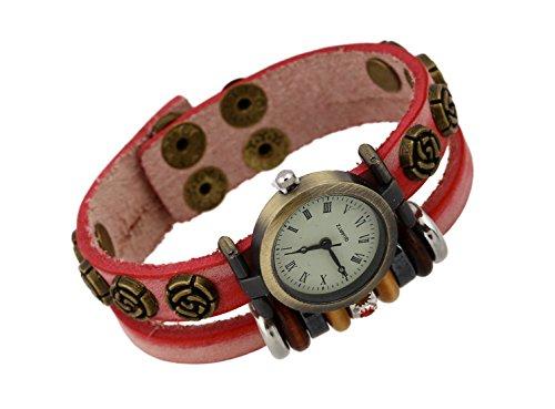JZHJJ einfaches und stilvolles klassisches Armband Lederarmbanduhr Lederarmbanduhr Damen rot Lederarmbanduhr klein beinhaltet: Armband,Armband Frauen,Armband männer,Armband Herren Gold