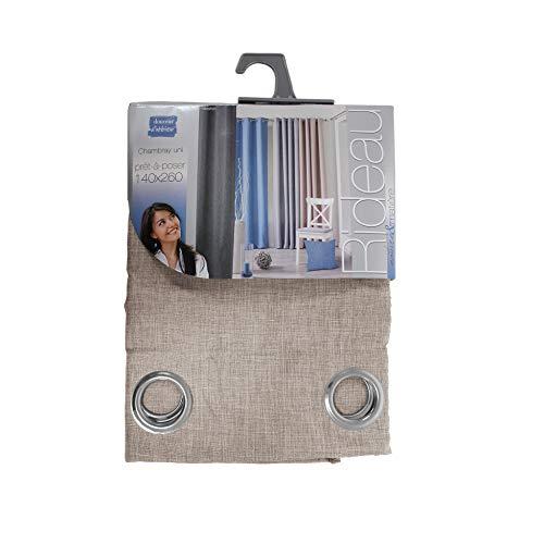 douceur d'intérieur 1605292 Rideau Oeillet Chambray Uni Polyester Newton Lin 140 x 260 x 260 cm