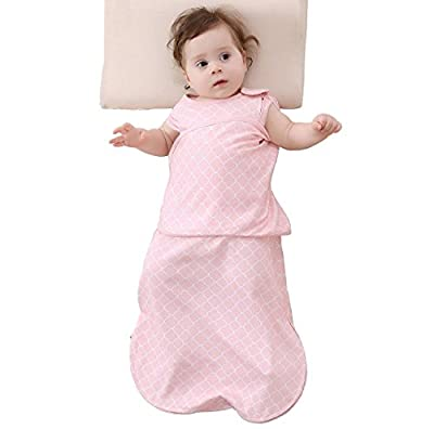 Enrich YLife Baby 100% Cotton Sleeping Bag Swaddle Wearable Blanket for Boys and Girls, 4 Season, 3-12 Months (Pink)