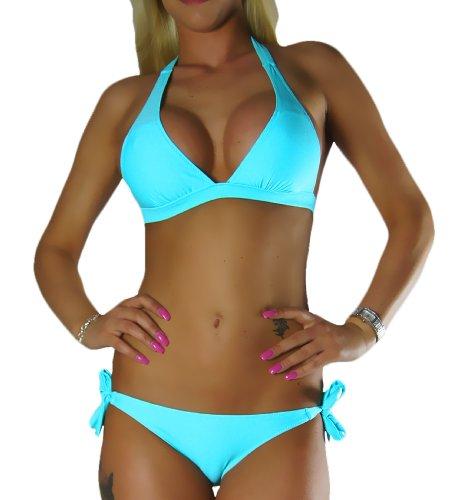 ALZORA Neckholder Damen Bikini Set in TÜRKIS Bänder Push Up Top und Hose, 20071 (L)