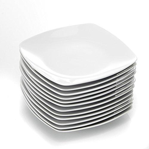 MALACASA, Serie Julia, 12 TLG. Set KLEIN Dessertteller Porzellan Kuchenteller für 12 Personen