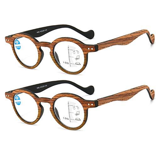 Gafas De Lectura, Grano De Madera Multifocal Progresivo Gafas Luz Azul Antirreflejos UV para Los Ojos Bisagra Comfort Spring Gafas para Ordenador para Hombres Mujeres Unisexo,B,+ 2.50 X