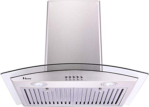Seavy 60cm 1100m3/h Kitchen Chimney (Amaze SS60,2 Baffle Filters, Stainless Body with Glass & 2 LED Lamps,Steel/Grey))