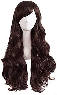 MapofBeauty Charming Women's Long Curly Full Hair Wig (Dark Brown)
