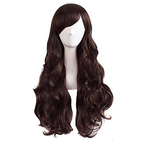 MapofBeauty charmante Frauen lange lockige volle Haar Perücke (dunkelbraun)