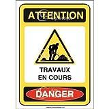 AUA SIGNALETIQUE - Panneau Attention travaux en Cours Danger - AI - 75x105 mm, Vinyl adhésif