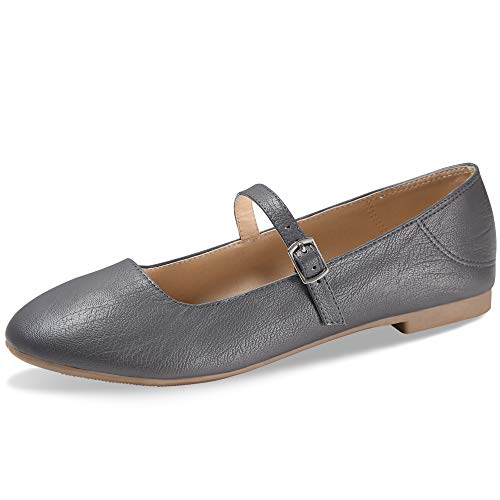 CINAK Flats Mary Jane Shoes Women's Casual Comfortable Walking Buckle Ankle Strap Slip On(6-6.5 B(M) US/ CN38 / 9.4'', Grey)