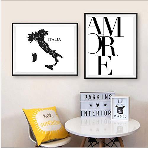 Amore Love Quote Italy muurkunst canvas schilderij schilderijen Valentijnsdagcadeaus Italië City Map silhouet Poster Prints Home Decor 50x70cmx2 niet-geframed