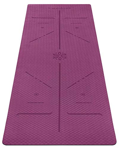 Ewedoos Eco Friendly Yoga Mat with Alignment Lines, TPE Yoga Mat Non Slip Textured Surfaces ¼-Inch Thick High Density Padding to Avoid Sore Knees, Perfect for Yoga, Pilates and Fitness (New Purple)